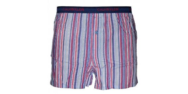 Pánske fialové slim fit trenky Calvin Klein Underwear s farebnými prúžkami