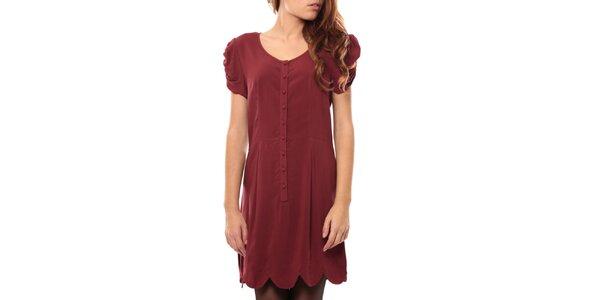 Dámske červené šaty s naberanými rukávmi My Little Poesy