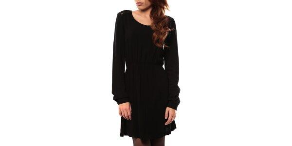 Dámske čierne šaty s čipkovanou vsadkou My Little Poesy