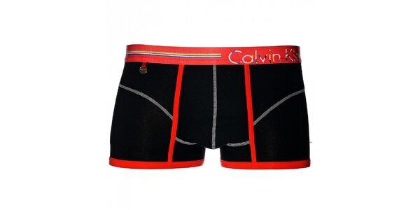 Pánske čierne boxerky Calvin Klein Underwear s oranžovým lemom