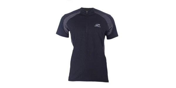 Pánske čierno-šedé športové tričko so zipsom Hannah