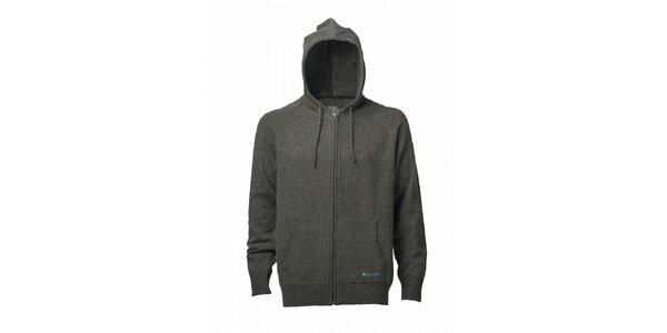 Pánsky tmavo šedý sveter s kapucou