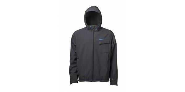 Pánska tmavo šedá softshellová bunda Fundago s čiernou potlačou