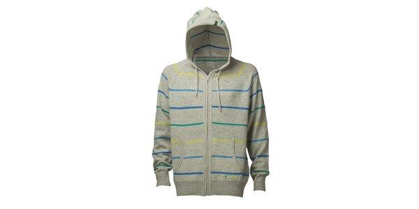 Pánsky svetlo šedý prúžkovaný sveter s kapucou