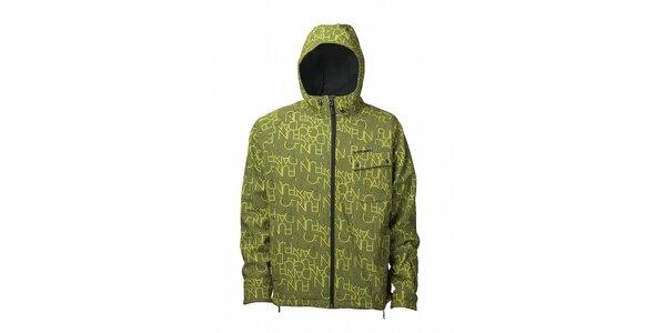 Pánska limetkovo zelená softshellová bunda Fundago s čiernou potlačou