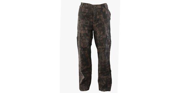 Pánske hnedo-šedé maskáčové nohavice Fundango