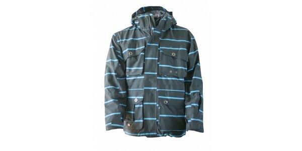 Pánska šedá zimná bunda Fundango s modrým prúžkom a membránou