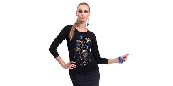 Dámske čierne tričko s potlačou Zaps