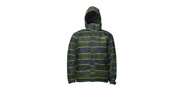 Pánska šedozelená prúžkovaná zimná bunda Fundango