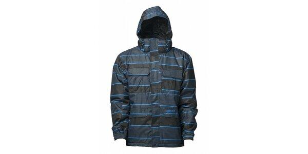 Pánska čierna zimná bunda s modrým prúžkom