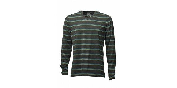 Pánske tmavo šedé tričko Fundango s modro-žltým prúžkom