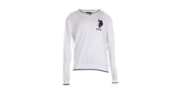 Pánsky biely sveter U.S. Polo