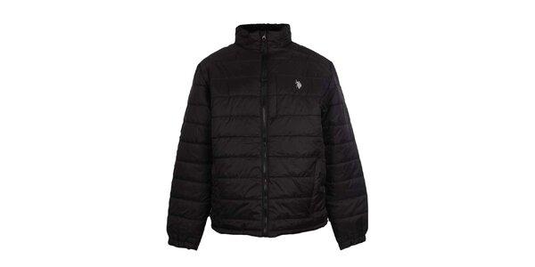 Pánska prešívaná čierna bunda U.S. Polo