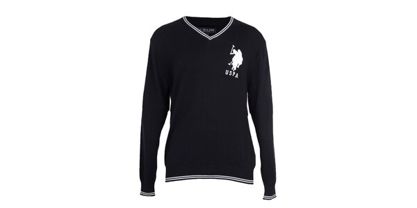 Pánsky čierny sveter U.S. Polo