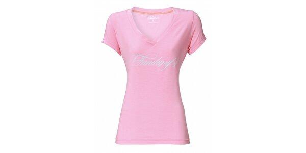 Dámske svetlo ružové tričko Fundango s potlačou