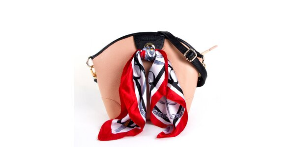 Dámska pudrová kožená kabelka so šatkou Belle & Bloom