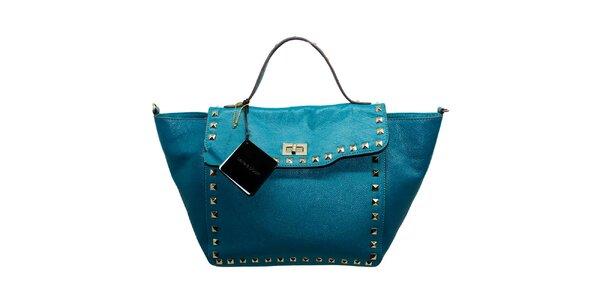 Dámska modrá kožená kabelka s flitrami Belle & Bloom