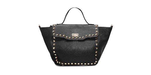 Dámska čierna kožená kabelka s flitrami Belle & Bloom