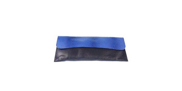 Dámska čierna listová kabelka s modrou klopou Belle & Bloom