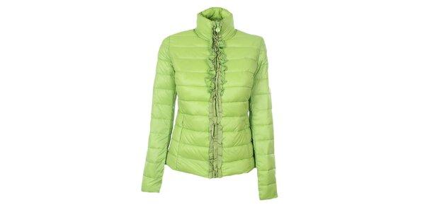Dámska zelená prešívaná bunda so stojáčikom a volánikmi Minority