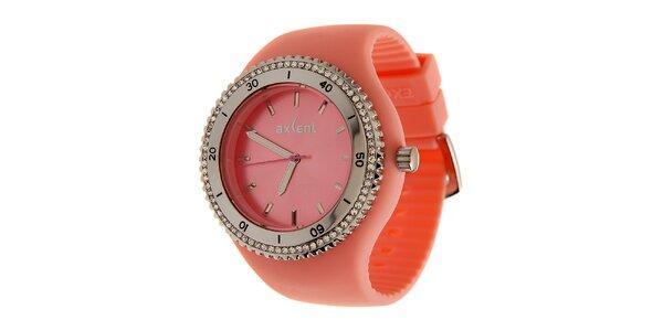 Dámske korálovo ružové náramkové hodinky Axcent s pryžovým remienkom a…