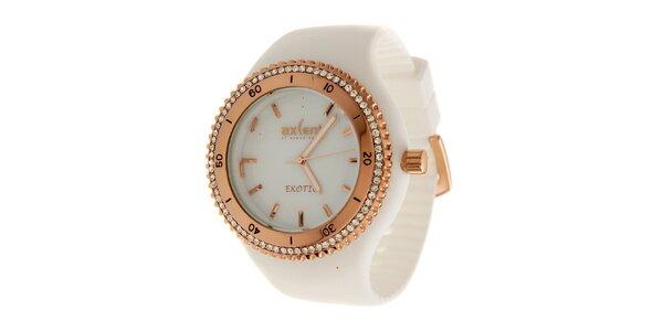 Dámske zlaté ocelové hodinky Axcent s bielym pryžovým remienkom