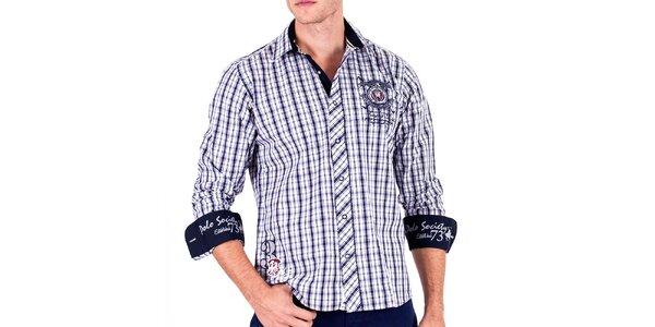 Pánska modrá kockovaná košeľa s výšivkami Galvanni