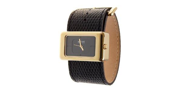Dámske zlaté hodinky Axcent s čiernym koženým remienkom