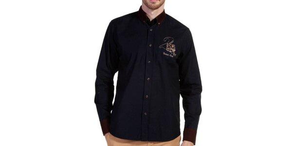 Pánska košeľa s hnedými detailmi Galvanni