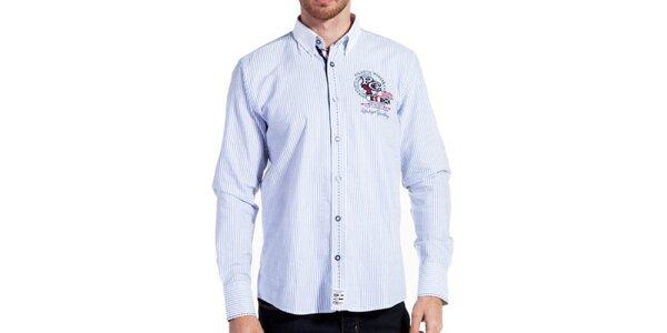 Pánska košeľa s prúžkami a výšivkou Galvanni