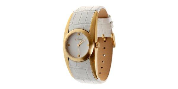 Dámske zlaté hodinky Axcent s bielym koženým remienkom