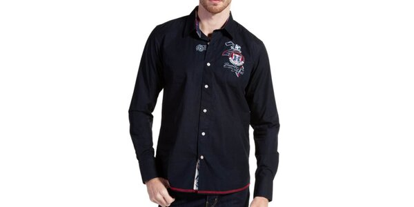 Pánska temno modrá košeľa s červeným lemom Galvanni