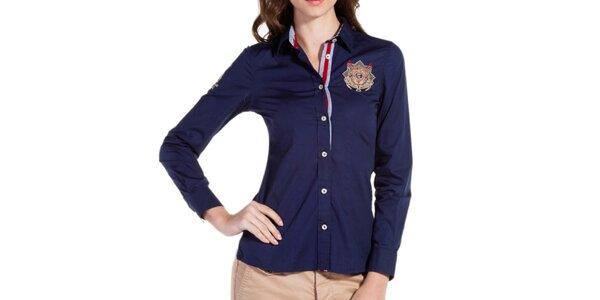 Dámska modrá košeľa s výšivkou Galvanni