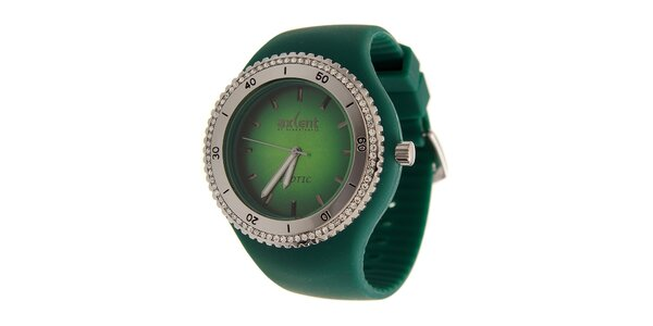 Dámske zelené náramkové hodinky Axcent s pryžovým remienkom a kamienkami