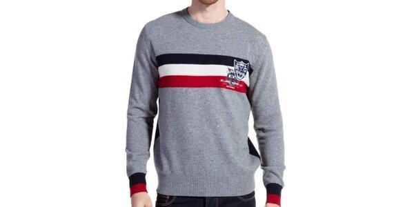 Pánsky šedý vlnený sveter s prúžkami Galvanni