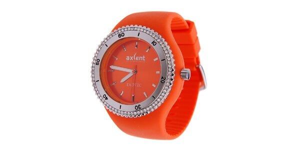 Dámske sýto oranžové náramkové hodinky Axcent s pryžovým remienkom a kamienkami