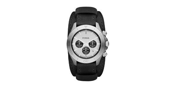 Pánske strieborné retro hodinky Fossil