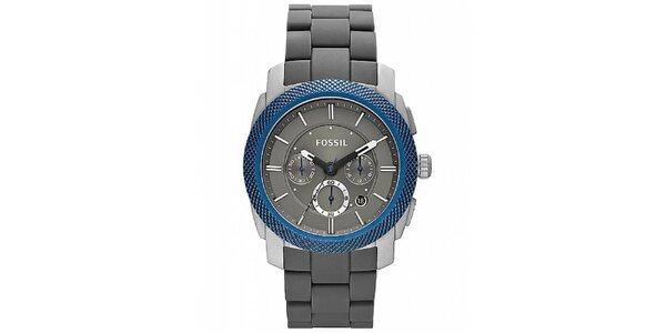 Pánske hodinky s modrou lunetou Fossil