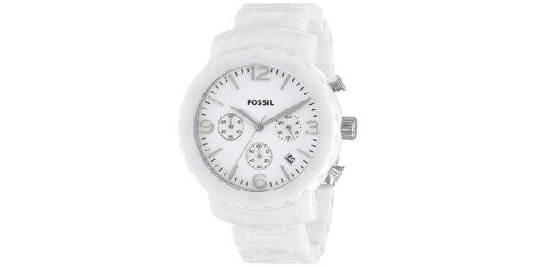 Dámske biele keramické hodinky Fossil