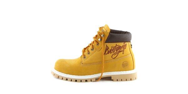 Žlté členkové topánky s hnedým nápisom Bustagrip