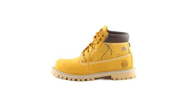 Kožené žlté topánky s potlačou Bustagrip