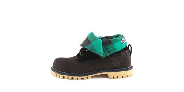 Čierne topánky s vyhrnutou zelenou časťou Bustagrip