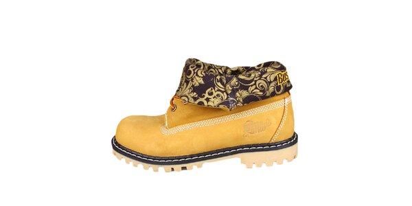 Žlté topánky s vyhrnutou vzorovanou časťou Bustagrip