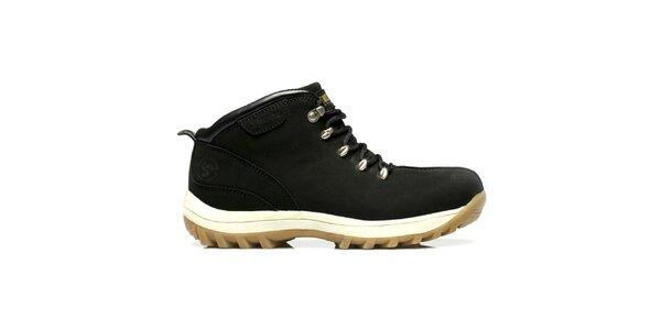 Kožené čierne topánky s robustnou podrážkou Bustagrip