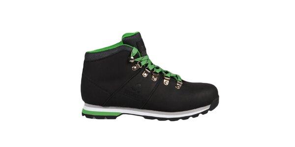 Čierne členkové topánky so zelenými prvkami Bustagrip