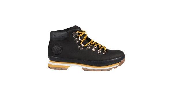 Čierne členkové topánky so žltými prvkami Bustagrip