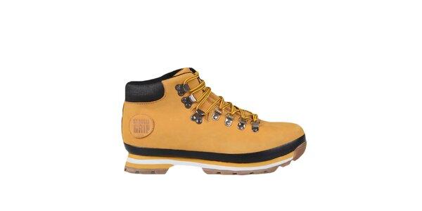 Horčicové členkové topánky so žltými šnúrkami Bustagrip