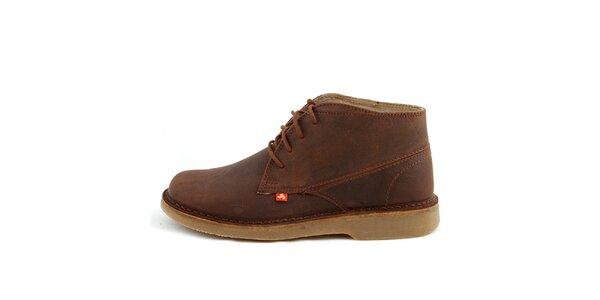 Nízke hnedé topánky z pravej kože Bustagrip