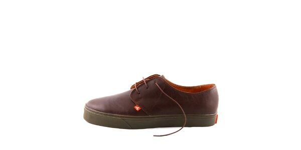 Hnedé kožené topánky Bustagrip