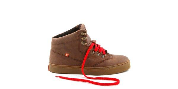 Hnedé kožené topánky s červenými šnúrkami Bustagrip